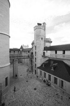Chateau de Vincennes  Courtyard & Bridge from Ramparts to Castle  Paris, France
