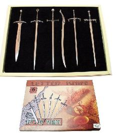 6 pc lord of the ring letter opener knives gift box