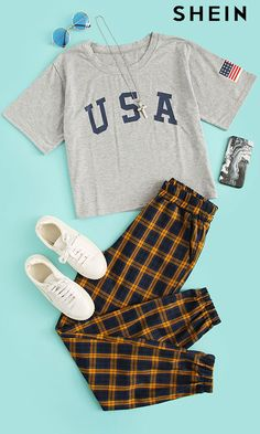 American Flag Letter Print Drop Shoulder Tee - American Flag Letter Print Drop Shoulder Tee Source by SHEINofficial - Autumn Outfits Curvy, Fall Outfits, Country Outfits, Fashion Outfits, Country Girls, Plaid Shirt Outfits, Cute Outfits With Leggings, Flannel Shirts, Casual Sporty Outfits