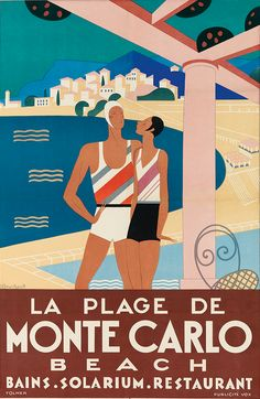 Art deco poster by Michel Bouchaud, 1929, Monte-Carlo Beach.