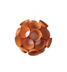 LZF Lamps | Dandelion, Suspension Lamp in orange | Wood touched by Light | Handmade Wood Lighting since 1994