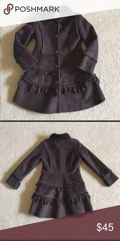 Widgeon Tiered Faux-Fur Coat Chocolate brown faux fur and suede coat. Jackets & Coats Pea Coats