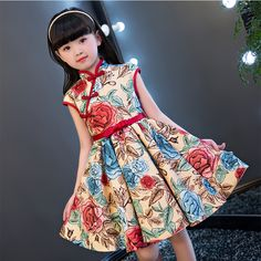 NEW 2017 Children Style Children Girls Qipao Summer Dress Luxury Printed Flowers Kids birthday Party Cheongsam Dress For 5~13yrs