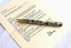 Beaded Gold Pen / Ballpoint Pen with Geometric Pattern by Beadwork & Coe