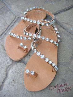 "Handmade greek sandals decorated with crystals ""Erato"",Ancient Greek Leather Sandals,Bridal sandals,FREE SHIPPING with code GA2308"