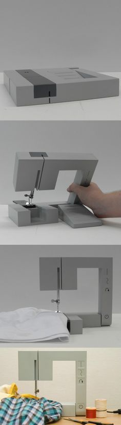 Square and portable sewing machine. This would be amazing to have. ULTIMATE TRAVELING TAILOR EQUIPMENT.