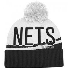 f97bda51304 adidas Nets Cuffed Pom Knit Black and White Hat