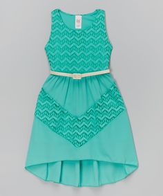 Look at this Just Kids Green Lace Belted Dress - Girls on #zulily today!