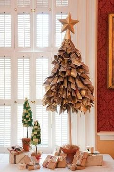 Newsprint Christmas Tree - Other ideas: use sheet music or paper with handwriting.