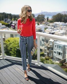 Love the pop of colour and the gingham trousers.