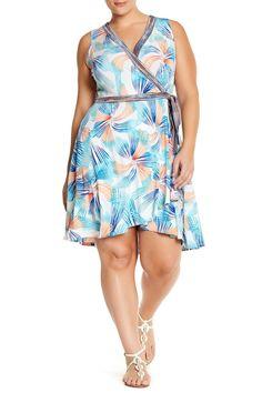 Print Jersey Faux Wrap Dress by London Times on