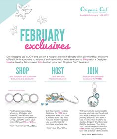 Origami Owl. Exclusive offer for this month (Feb 2017). www.CharmingLocketsByAline.OrigamiOwl.com