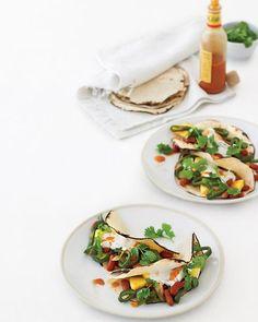 pepper, pineapple, bean breakfast tacos