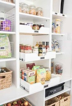We've gathered 14 clever ideas to help you make the most of your tiny pantry closet. #hunkerhome #pantryorganization #smallpantry #smallpantrytips #pantryclosetideas