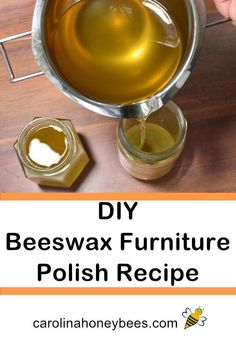 Easy Beeswax Furniture Polish Recipe - One of the easiest things to make with beeswax is furniture polish. Protect your wood surfaces with this easy beeswax furniture polish recipe. Beeswax Furniture Polish, Beeswax Polish, Diy Cleaners, Cleaners Homemade, Beeswax Recipes, Diy Household Tips, Household Items, Green Cleaning, Cleaning Tips