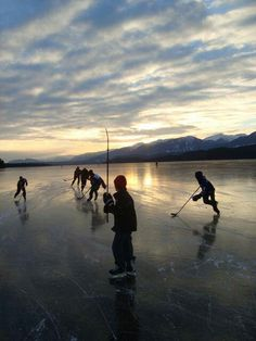 Hockey time - would love to have boys have this opportunity - skating on a frozen lake/pond!!