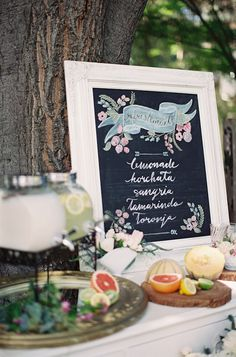 Old Spanish Wedding Ideas at Allied Arts Guild with stunning florals in milk glass, a lemonade bar and chic vintage wedding rentals. Chalkboard Wedding, Wedding Signage, Wedding Menu, Fall Wedding, Wedding Reception, Rustic Wedding, Our Wedding, Wedding Planning, Chalkboard Lettering