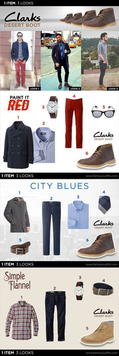 The Clarks Desert Boot was launched over sixty years ago, yet it's still one of the most widespread version of the Chukka boot around. Already have a pair of the Clarks Desert Boot or are in the market for a pair? Here are few great styles from Famous Outfits that take 1 item, but give you 3 looks. #menswear #mensfashion