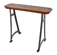 late 19th or early 20th century antique american industrial repurposed lathe machine stationary console or side table with new added oak wood top with recess apron