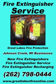 Fire Extinguisher Service Johnson Creek, WI (262) 798-0444 Call the Experts at Great Lakes Fire Protection.. We are the complete source for Fire Extinguisher Service for Local Wisconsin Businesses We would love to hear from you.. Call us Today!