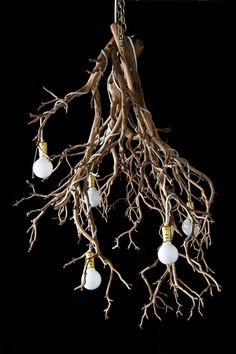 Items similar to Fey Illumination Chandelier (Natural) Wood Tree Branch Sculptural Lighting on Etsy