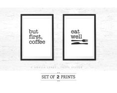 But first coffee and Eat well. Set of TWO prints. by LatteDesign