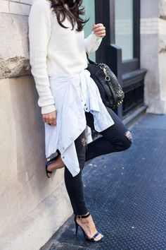 black ripped skinny jeans and ankle strap heels