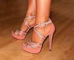 Coral Pink Suede Gold Strappy Heels Sandals Womens Ladies Shoes
