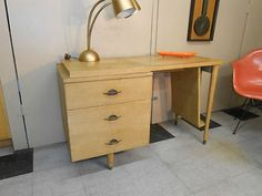 1950′s Blond Modern Desk Retro Mid Century Side Magazine Rack 3 Drawers | Used Mid-Century Modern Furniture Auctions