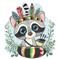 Cartoon Raccoon with feathers on a blue background. Cute Cartoon Raccoon with feathers on a blue background royalty free illustration Lotus Kunst, Lotus Art, Kids Cartoon Characters, Cartoon Drawings Of Animals, Raccoon Drawing, Baby Canvas, Clipart Baby, Cute Raccoon, Art Challenge