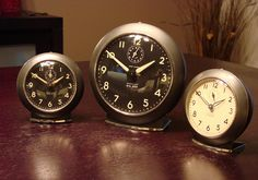 Vintage Big Ben and Baby Ben alarm clocks by Westclox. Love these! Make me think of my Grandpa.