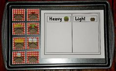 Heavy or Light Picnic Baskets Cookie Sheet Activity
