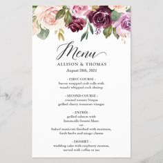 Shop Plum Purple Blush Floral Wedding Dinner Menu created by CardHunter. Birthday Dinner Menu, Wedding Dinner Menu, Wedding Menu Cards, Birthday Dinners, Purple Wedding, Floral Wedding, Diy Wedding, Wedding Ideas, Diy Birthday Design
