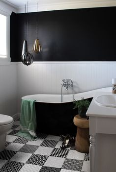 White and black bathroom by Auckland designer Hayley from Lou Brown Design. Bungalow Renovation, Home, Renovations, First Home, Bathroom Interior, Black Bathroom, Interior, Bungalow, Bathroom