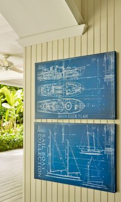 Our distinctive Blueprint Collection Sailboat artwork highlights the splendor of the seafaring vessel. The well-defined white lines on this technical drawing stand out from the deep midnight blue ground.