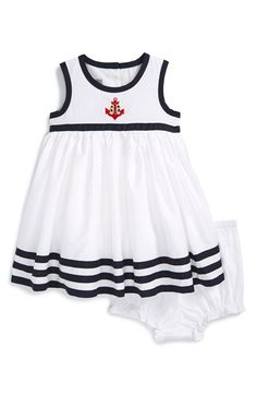 Pippa & Julie 'Anchor' Sleeveless Cotton Dress & Bloomers (Baby Girls) available at Little Girl Dresses, Nice Dresses, Girls Dresses, Mom Dress, Baby Dress, Baby Kids Wear, Baby Girls, Girls Summer Outfits, Kids Outfits