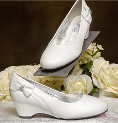 girls white First communion shoes Wedge shoe with bow
