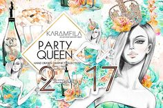 Party Girl Clipart by Karamfila on @creativemarket