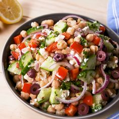 This Mediterranean Chickpea Salad will fill you up all day. dinner pasta Mediterranean Chickpea Salad Will Fill You Up All Day Chickpea Salad Recipes, Vegetarian Recipes, Cooking Recipes, Healthy Recipes, Chickpea Feta Salad, Easy Recipes, Beet Salad, Cooking Games, Cucumber Salad