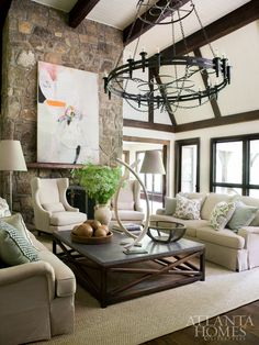 Meridy King enlisted Dave Lennard to create a custom square zinc-top coffee table to anchor the great room. Living Room Designs, Living Room Decor, Living Spaces, Living Rooms, Living Room Inspiration, Design Inspiration, Atlanta Homes, House And Home Magazine, Great Rooms