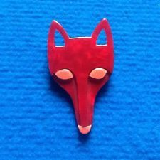 Lea Stein Red Fox Head Brooch