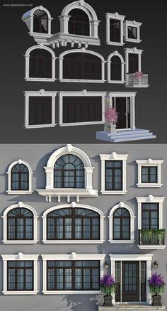 Thư viện 3d tổng hợp 11 model khung cửa sổ cổ điển Châu âu cực đẹp House Window Design, House Outside Design, Window Grill Design, Bungalow House Design, House Front Design, Villa Design, Facade Design, Exterior Design, Door Design