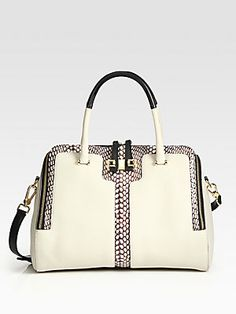Furla Exclusively for Saks Fifth Avenue Mediterranea Snake-Print Leather Shopper - Black is tres chic...