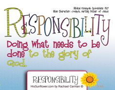 Character Quality: Responsibility Join me each week as we study a new… Teaching Character, Character Education, Character Counts, Character Development, Physical Education, Object Lessons, Bible Lessons, Youth Lessons, Guidance Lessons
