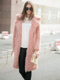 Shop Pink Quality Lapel Long Line Soft Faux Fur Warm Coat from choies.com .Free shipping Worldwide.