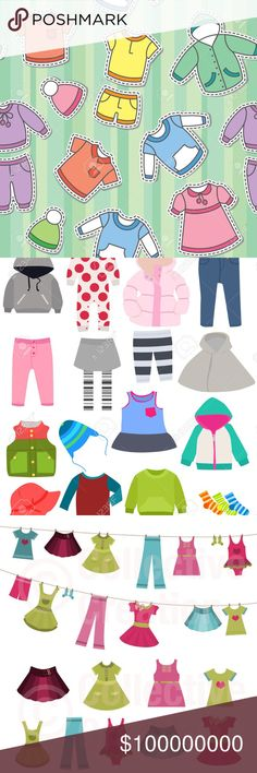 Kids Clothes coming!   Coming in two weeks!  Like this listing to be informed when children's clothing and accessories hit my closet, just like this listing. Girls, boys, and gender neutral items! Dresses, tops, bottoms, jeans, leggings, swimwear, jewelry, hats, belts, sweatshirts, shoes, sneakers, sandals, boots, hair accessories, skirts, skorts, school uniforms, pajamas, onesies, and more! All vector images yanked from Google Images and belong to their respective owners. Too many to…