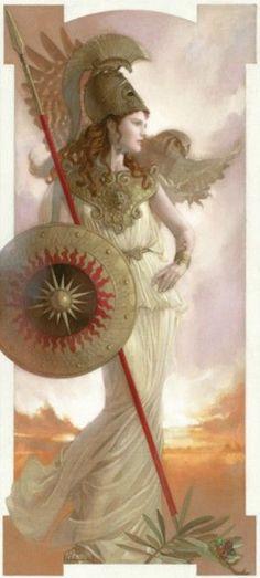 Athena by Tsuyoshi Nagano Greek And Roman Mythology, Greek Gods And Goddesses, Norse Mythology, Minerva Goddess, Athena Goddess, Blackwork, Mythological Characters, Angel Warrior, Neue Tattoos