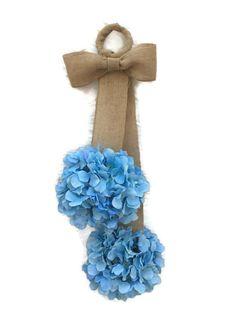 Blue Hydrangea Door Hanger, Spring Door Hanger, Hydrangea Door Swag, Blue Hydrangea Door Hanger, Spring Door Decor, Summer Hydrangeas by DivineDesignWreaths on Etsy