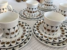 6 Black Velvet Hostess Tableware coffee cups saucers & side plates retro VINTAGE 70s  On ebay now!! http://www.ebay.com.au/itm/253119983015…  Made of fine bone china. English pottery Made by HT Hostess Tableware and designed by John Russell. Mid century, 1970s bold, geometric design. Brown and black pattern on white/ivory background. Perfect condition. No chips or cracks  Plate: W:17.6cm Cup: H: 7.5cm Diameter 7.4cm Saucer: W: 15cm