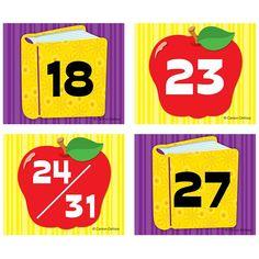 Carson Dellosa Education Apple/Book Calendar Cover-Up Cut-Outs Classroom Calendar, Classroom Themes, Future Classroom, Childhood Education, Kids Education, Apple Illustration, Calendar Numbers, Apple Books, Sorting Activities